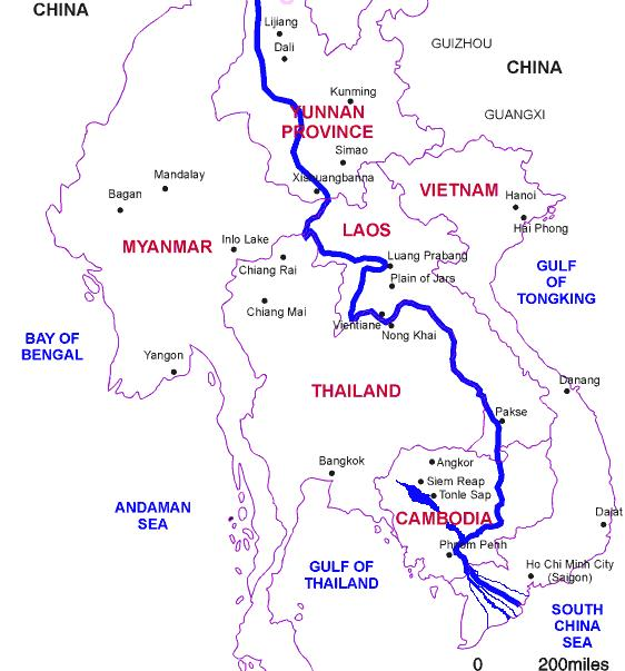 The path of the Mekong River from China to Vietnam