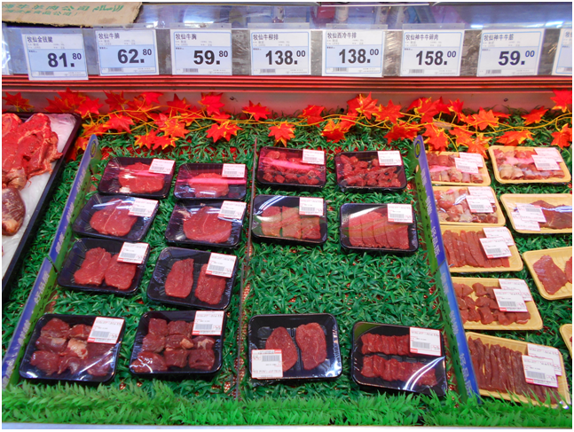 Shanghai supermarket beef. Prices advertised per 500 grams of product.