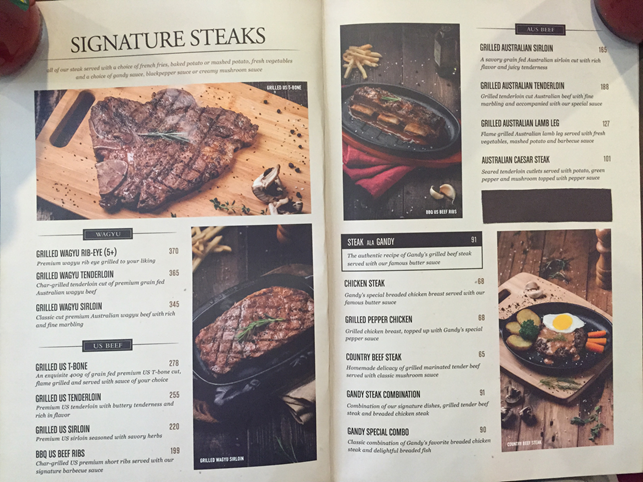 Gandy Steakhouse menu