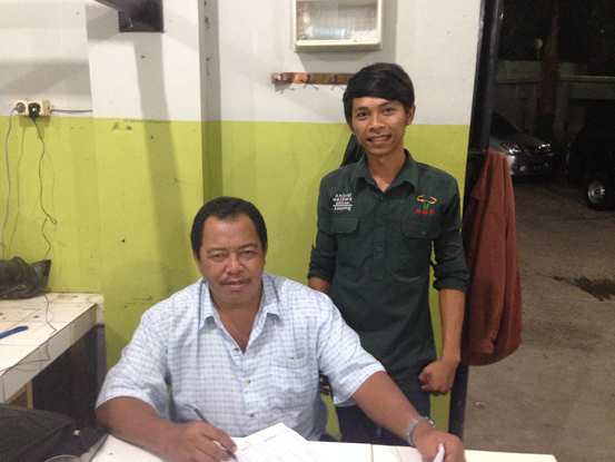 Bambang and Z Beef abattoir manager Dodo Subarna in Lampung, south Sumatera.