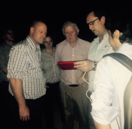 Global Compliance's Brian Scott demonstrating the features of the patented black box (which is actually red) to Peter Dundon (MLA) and Simon Crean (ALEC) in Hanoi last month.