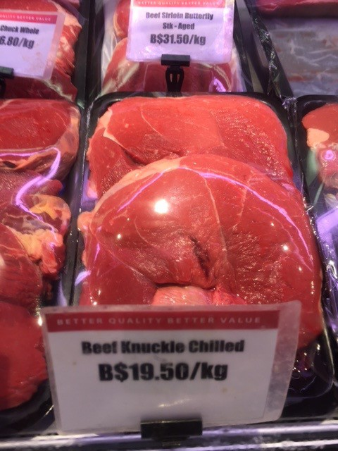 Chilled knuckle for close to AUD$20 per kg in the Brunei supermarket