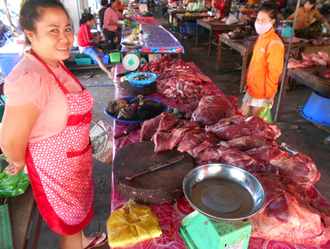 The beef (and buffalo) section at the Pakse wet market, southern Laos.