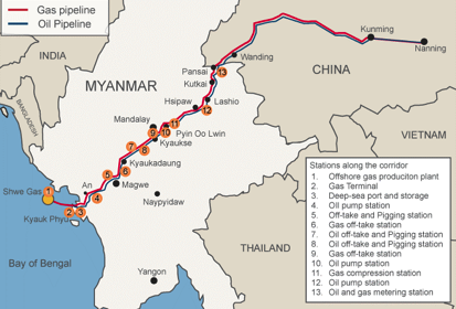 The map above shows how China currently accesses some of its oil and gas imports through the Bay of Bengal via Burmese pipelines. This is a very efficient route compared with the normal run where tankers must sail from the Middle East down through the Straights of Malacca, around Singapore and back up through the South China Sea to the east coast. This infrastructure is a win win for both countries.