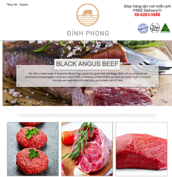 Vietnamese online advertising of high quality product offering home delivery. HACCP and Halal, chilled Black Angus beef – hard to beat as a marketing edge.